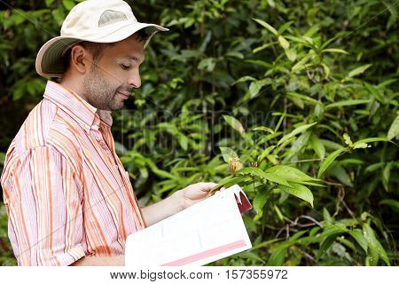 Handsome Botanist With Stubble Wearing Striped Shirt Holding Manual Or Guide In One Hand And Green P