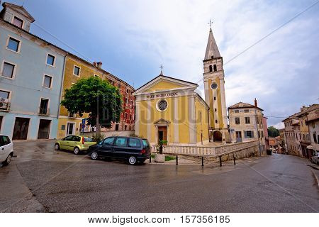Old istrian town of Buje street and church view Croatia