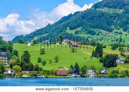Waterview on Swiss village near Lucerne, Switzerland.