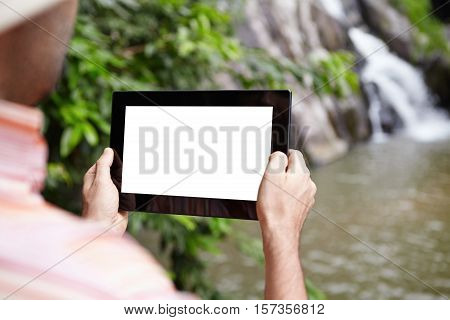Caucasian Scientist Or Ecologist Recording Video Of Wildlife And Mountain River In Nature Reserve, U