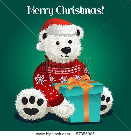 A vector illustration of Bear Stuffed Toy Celebrating Christmas