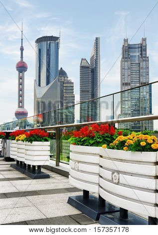Skyscrapers And Outdoor Flower Pots In Downtown, Shanghai