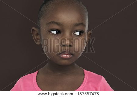 Lonely African Girl Sad Boredom Expression Concept
