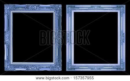 Collection 2 Antique Blue Frame Isolated On Black Background, Clipping Path