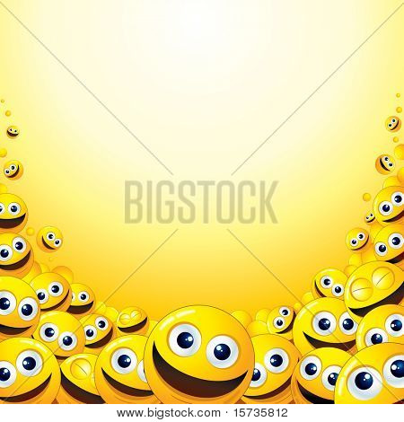 Background with heap of Yellow Smileys - template for your fun text or design
