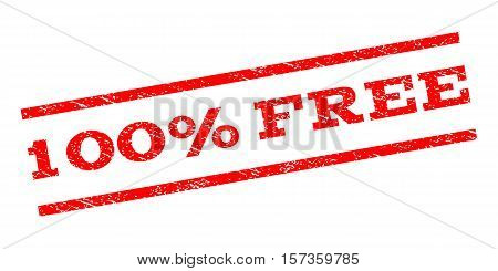 100 Percent Free watermark stamp. Text tag between parallel lines with grunge design style. Rubber seal stamp with dust texture. Vector red color ink imprint on a white background.