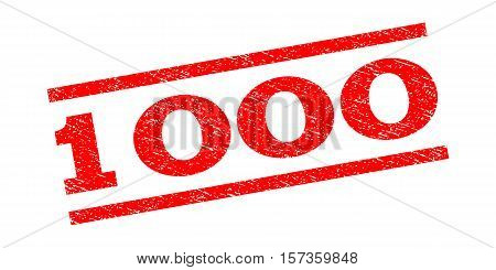 1000 watermark stamp. Text caption between parallel lines with grunge design style. Rubber seal stamp with unclean texture. Vector red color ink imprint on a white background.