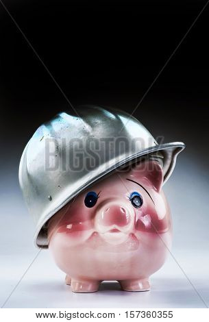 Hard hat piggy at work with room for your type.