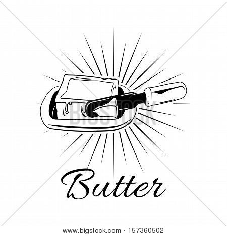butter on white plate with knife. vector illustration isolated on white