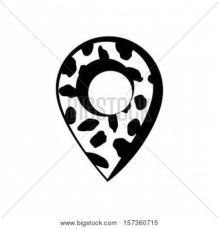 Cow vector with map pointer. vector illustration. isolated on white background