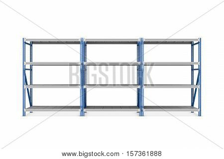 3d rendering of three metal racks put together, isolated on the white background. Storage furniture. Free standing racks and shelves.