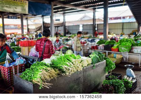 Wide Range Of Green Vegetables At Market In Lijiang, China