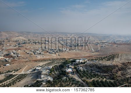 View from Ruins of Herodium or Herodion the fortress of Herod the Great Israel