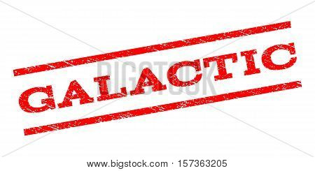 Galactic watermark stamp. Text caption between parallel lines with grunge design style. Rubber seal stamp with dirty texture. Vector red color ink imprint on a white background.