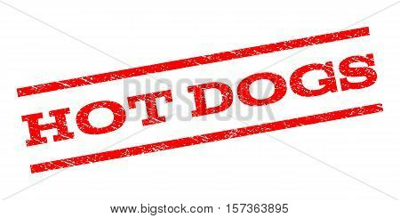 Hot Dogs watermark stamp. Text tag between parallel lines with grunge design style. Rubber seal stamp with unclean texture. Vector red color ink imprint on a white background.