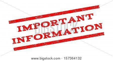 Important Information watermark stamp. Text caption between parallel lines with grunge design style. Rubber seal stamp with dirty texture. Vector red color ink imprint on a white background.