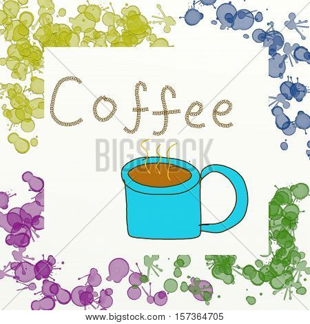 A coffee mug with coffee in a frame with paint splats