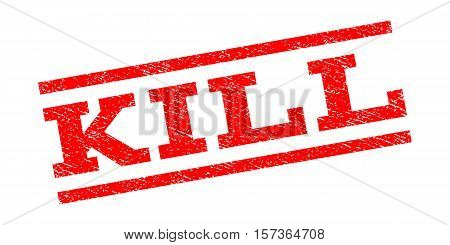 Kill watermark stamp. Text tag between parallel lines with grunge design style. Rubber seal stamp with unclean texture. Vector red color ink imprint on a white background.