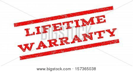 Lifetime Warranty watermark stamp. Text tag between parallel lines with grunge design style. Rubber seal stamp with unclean texture. Vector red color ink imprint on a white background.
