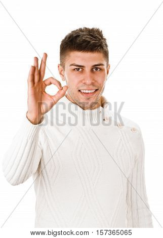 youngman shows sign and symbol ok on white background