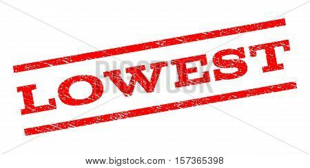 Lowest watermark stamp. Text tag between parallel lines with grunge design style. Rubber seal stamp with scratched texture. Vector red color ink imprint on a white background.