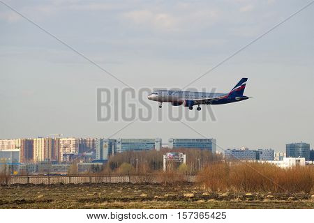 SAINT PETERSBURG, RUSSIA - APRIL 16, 2016: Airbus A320-214 (VP-BWD) Aeroflot landing in Pulkovo airport