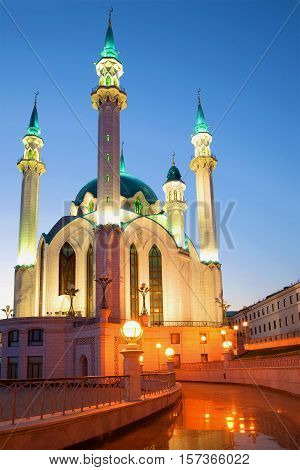 The old Kul-Sharif mosque in the April twilight. Kazan, Russia