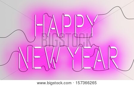 Happy New Year texts in pink glowing neon light and electric wires