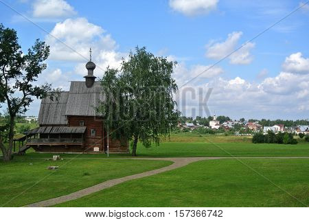 Suzdal, Russia, Ancient wooden Church in Suzdal. Museum of wooden architecture and peasants' life. Golden ring of Russia. Orthodox architecture