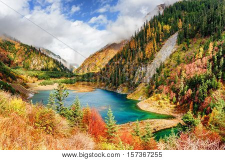 Fantastic View Of The Upper Seasonal Lake With Azure Water