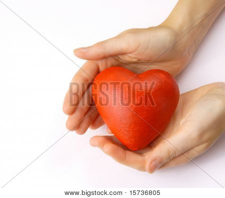 Valentines - red heart in hands on white background
