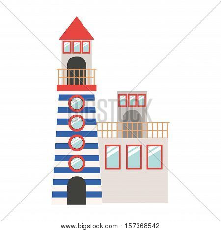 full color with Tower of Lighthouse and rescue operations center vector illustration
