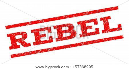 Rebel watermark stamp. Text tag between parallel lines with grunge design style. Rubber seal stamp with scratched texture. Vector red color ink imprint on a white background.