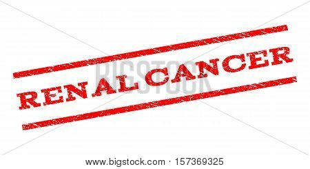 Renal Cancer watermark stamp. Text tag between parallel lines with grunge design style. Rubber seal stamp with dust texture. Vector red color ink imprint on a white background.