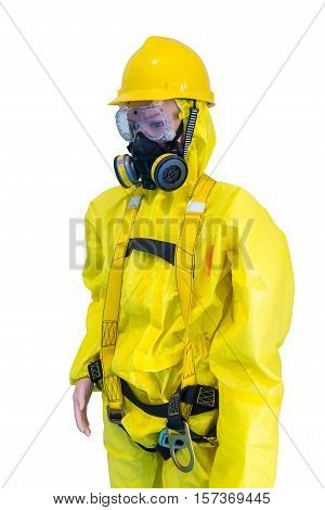 Yellow Chemical protection on mannequins. Safety, protection