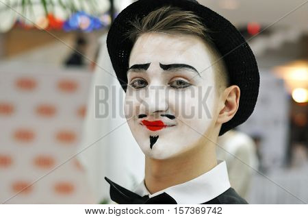 Portrait of the boy mime actor Close-up