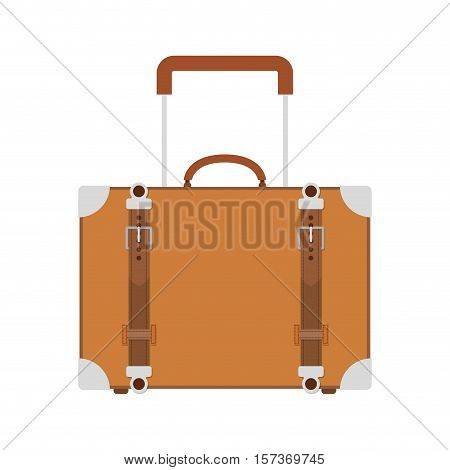 full color suitcase with handle vector illustration