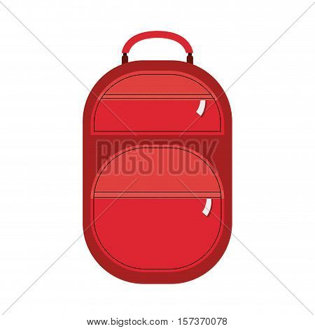 full color suitcase with pockets with zipper vector illustration