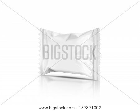 blank packaging candy palstic sachet isolated on white background with clipping path