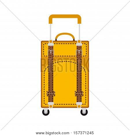 full color travel suitcase yellow with extension handle and wheels vector illustration