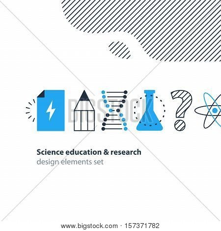 Science study and research, education concept. Idea light bulb. Chemistry and physics icons. Flat design vector illustration