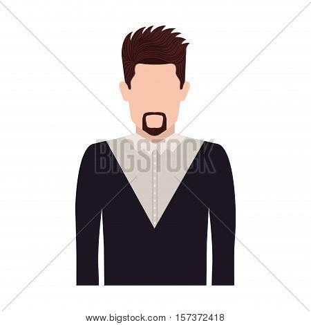 half body silhouette man with van Dyke beard