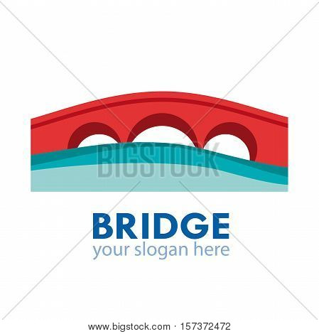 Vector abstract logo of bridge connection concept