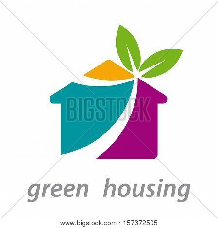 Vector abstract shape logo green house with palnt