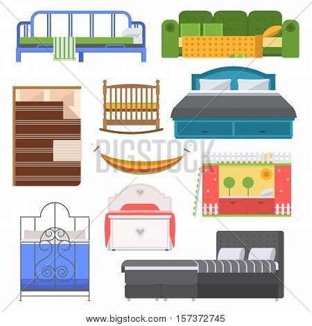 Exclusive sleeping furniture design bedroom with aerial view. Sleeping furniture bed, interior, room vector illustration. Vector comfortable sleeping furniture home bed interior room.