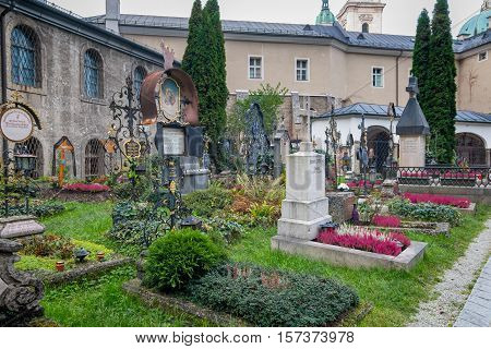Salzburg Austria - October 27 2016: The Petersfriedhof or St. Peter's Cemetery is the oldest Christian cemetery in the Austrian city of Salzburg dating back to 17th century. It is one of Salzburg's most popular tourist attractions.