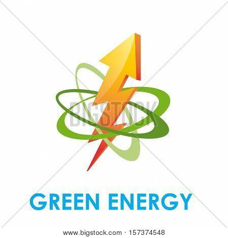 Vector abstract logo Green Energy, orbit and lightning