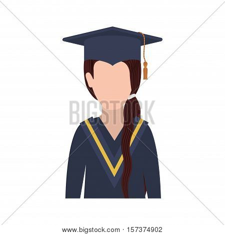 half body woman with graduation outfit and ponytail hair vector illustration