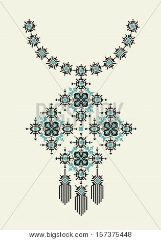 Vector Ethnic necklace Embroidery for fashion women. Pixel tribal pattern for print or web design. jewelry, necklace, crystal print on fabric.