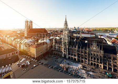 Aerial view on Munich old town hall or Marienplatz town hall and Frauenkirche in Munich Germany